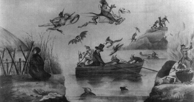 Newspaper cartoon depictiing Methodist minister Ephraim Avery being spirited across the river Styx to hell for the murder of Mill Girl Sarah Cornell.