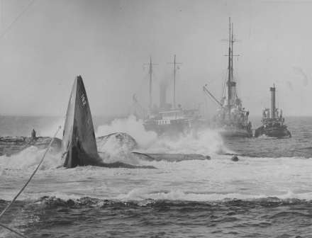 The USS Squalus resurfaces after being pulled from the bottom of the ocean. Photo Courtesy Boston Public LIbrary Leslie Jones Collection.