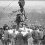 Workers installing the Lincoln Memorial cornerstone