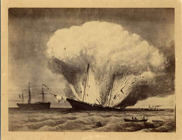 U.S.S. Caleb Cushing, destroyed by Confederate Rebels in Portland, 1863. Source: Maine Historical Society.