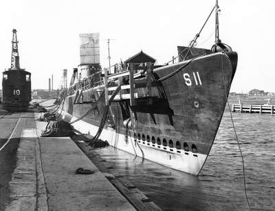 The USS Squalus being fitted out at Portsmouth Naval Shipyard.