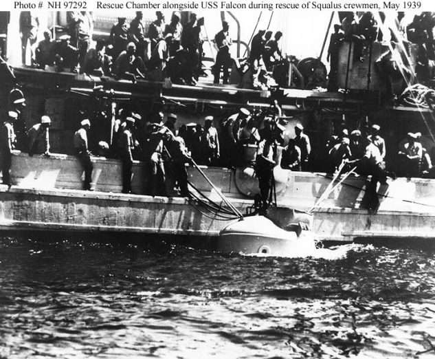"""Sailors haul the rescue chamber aboard the Falcon after its final trip to the sub. Photo: USN"""" width=""""300"""" height=""""247"""" /> Sailors haul the rescue chamber aboard the Falcon after its final trip to the sub. Photo courtesy U.S. Navy."""