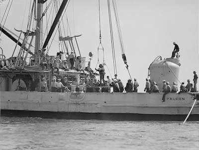 The rescue chamber aboard the Falcon. Photo courtesy Boston Public Library Leslie Jones Collection.