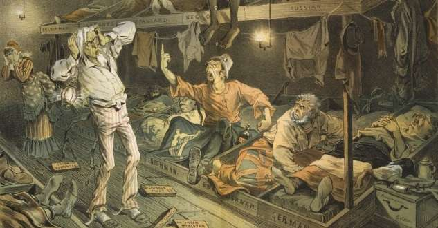 "The mood that generated the growth of the Know Nothing Party of the mid-1800s showed up early in Massachusetts. This cartoon, ""Uncle Sam's Boarding House"" from Puck Magazine, highlights the party's anti-immigrant platform."
