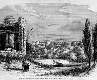 VIew of the City of Somerville in 1854 from the site of the Charlestown Convent ruins (seen on left). (Courtesy of Mr. Paul Swan, Boston Public Library Archives.)