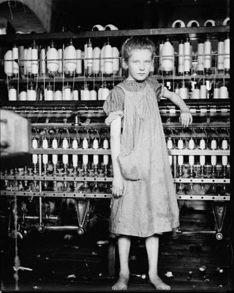 Addie Card, a 10-year-old spinner in the North Pownal [Vt.] Cotton Mill, 1910. Hine described her as 'Anaemic little spinner.' Her image appeared on a postage stamp and in a Reebok ad, and she inspired the novel 'Counting on Grace.'