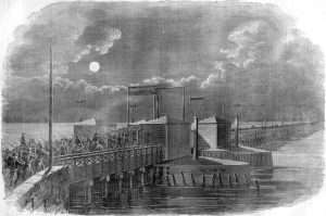 Union troops crossing the Long Bridge into Virginia following Virginia's Secession.