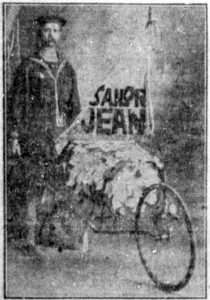 Krohn as Sailor Jean in a newspaper photo promoting his travels.