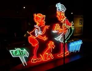 Neon sign of Simple Simon and the Pieman, dreamed up by Howard Johnson, Culinary Arts Museum at Johnson & Wales University, Providence, R.I.
