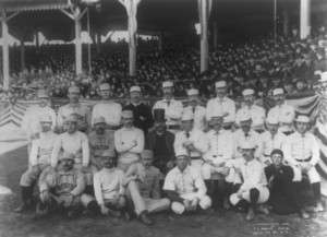 "Charles ""Old Hoss"" Radbourn (back row, far left) flashing a signal to the photographer."