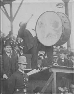Royal Rooter Cheering the Boston Americans on with a Drum