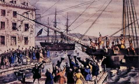 The Destruction of the Tea at Boston Harbor, Nathaniel Currier.