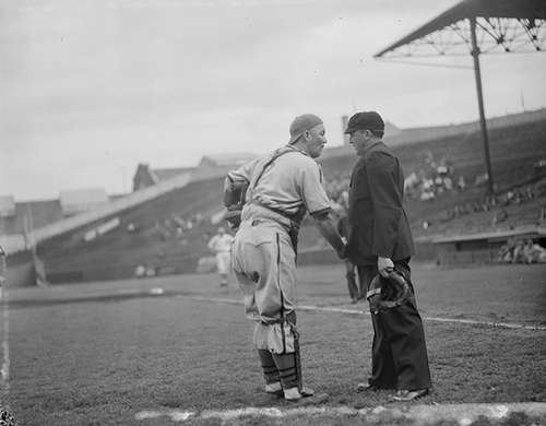 Gabby Hartnett pleads his case with an umpire, Braves Field. Photo courtesy Boston Public Library, Leslie Jones Collection.