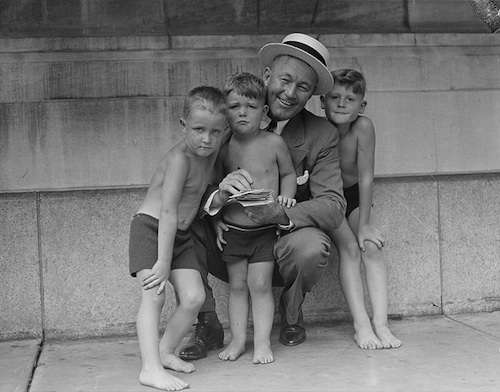 Gabby Hartnett signs autographs for three boys in Boston, 1938. Photo courtesty Boston Public Library, Leslie Jones Collection.