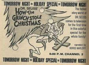 Original ad for How the Grinch Stole Christmas.
