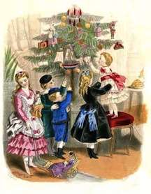 A Godey's Lady's Book image of children decorating a Christmas tree.