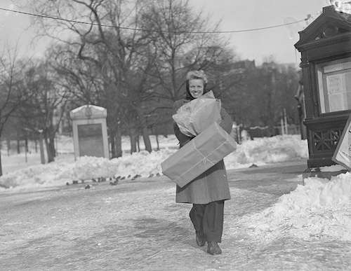 A Boston Christmas shopper, date unknown. Photo courtesy Boston Public Library, Leslie Jones Collection.