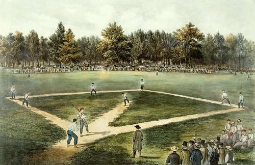 The American national game of baseball by Currier & Ives.