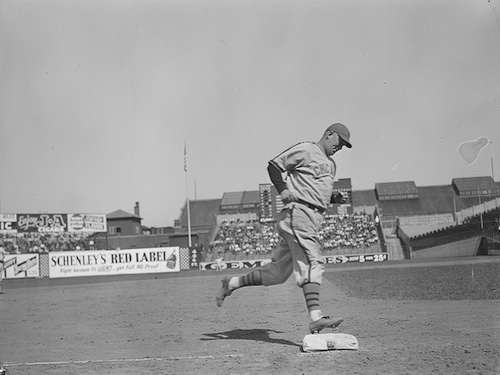 Gabby Hartnett rounds third after hitting a home run at Braves field. Photo courtesy Boston Public Library, Leslie Jones Collection.