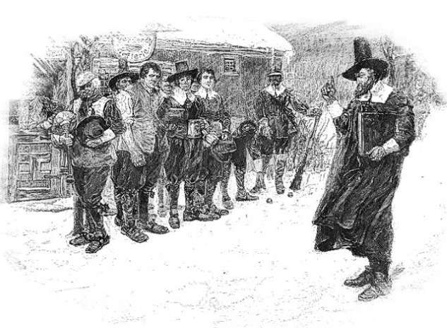 Illustration of Gov. William Bradford putting down the Christmas revels in the earliest days of Massachusetts. (Howard Pyle)