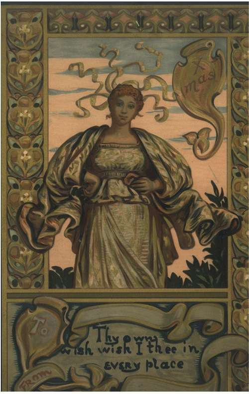 Winning design for Prang's 1881 Christmas Card contest, by Elihu Vedder.