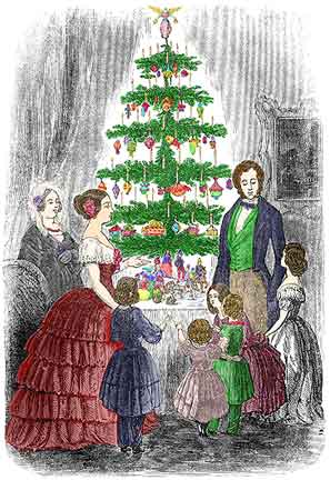 Queen Victoria and Prince Albert with tree, without jewels or moustache.