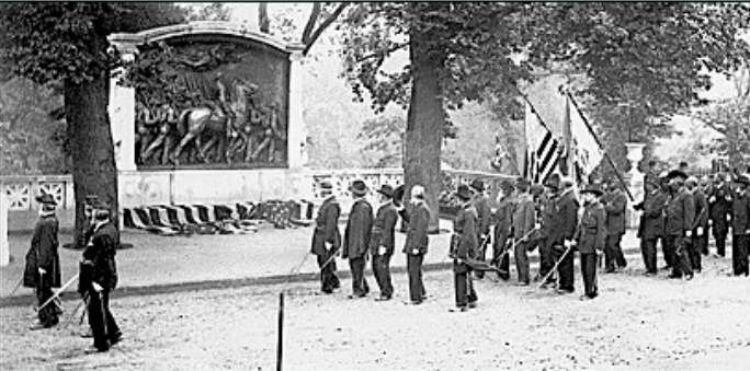 Veterans of the 54th Massachusetts at the dedication of the Memorial to Robert Gould Shaw and the Massachusetts Fifty-Fourth Regiment on Boston Common, May 31, 1897.