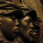 Detail from Saint-Gaudens' model for 54th Massachusetts Regiment Memorial