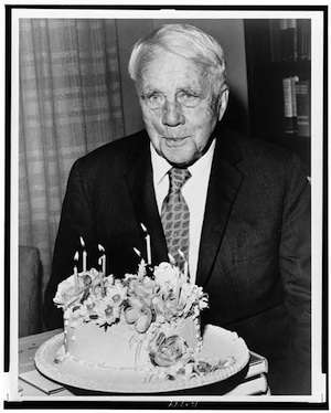 Robert Frost and his 85th birthday cake.