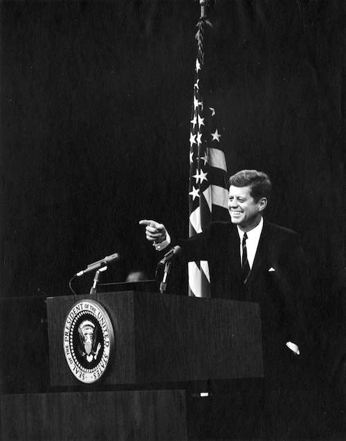 A Kennedy press conference. Photo courtesy JFK Library, taken by Abbie Rowe.