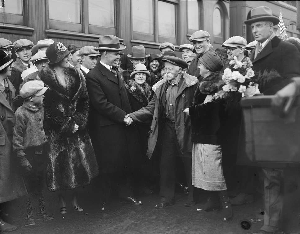 Mellie Dunham and Gram meet Maine's governor. Photo courtesy Boston Public Library, Leslie Jones Collection.