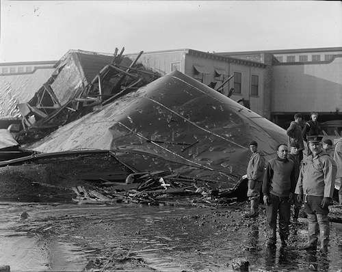 Section of tank after molasses disaster explosion. Photo courtesy Boston Public Library, Leslie Jones Collection.