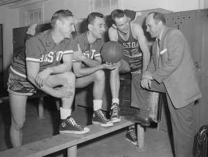 Red Auerbach in the Celtics' locker room. Photo courtesy Boston Public Library, Leslie Jones Collection.
