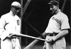 Ty Cobb (left) and Nap Lajoie