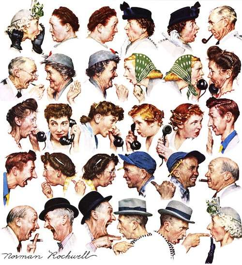 The Gossips. Rockwell's wife Mary is the second and third figure in the third row; Rockwell wears the gray hat in the last row.