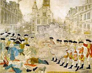 The Boston Massacre, engraving by Paul Revere