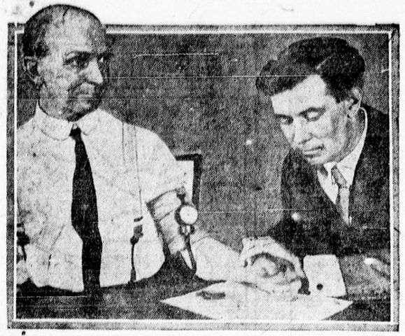 "Original caption: This shows Dr. William M. Marston testing his ""lie detector"" on E. E. Duddington, founder and president of the ""Prisoners' Relief society."" Duddington served a five years' sentence for involuntary manslaughter and he hopes Doctor Marston's ""detector"" will vindicate the story he told at his trial."