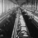 Typical spinning room of a New England textile mill. Photo by Lewis Hine, courtesy Library of Congress.