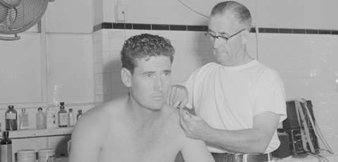 Ted Williams gets physical therapy, 1942. Courtesy Boston Public Library, Leslie Jones collection