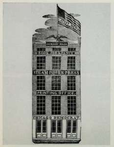 Jackson Hall in Chicago, where Wentworth produced his newspaper.