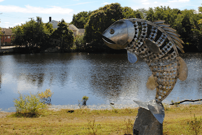 Fish sculpture at Mill Pond Park along the banks of Mother Brook.