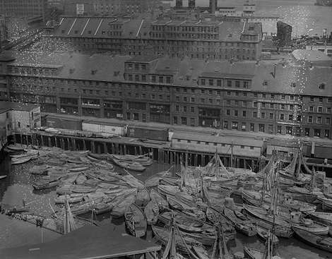Italian fishing fleet in for Easter. Photo courtesy Boston Public Library, Leslie Jones Collection.