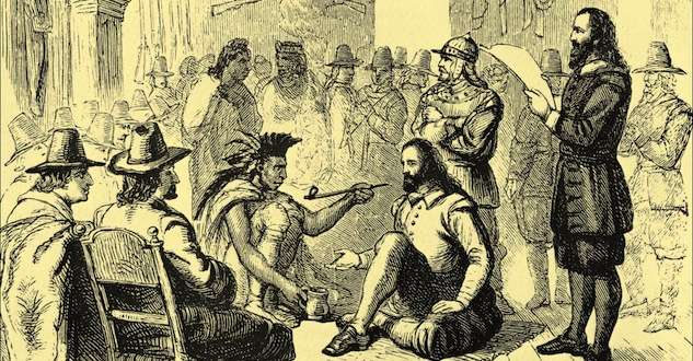 Massasoit Visits Plymouth For Trade And A Peace Treaty New England