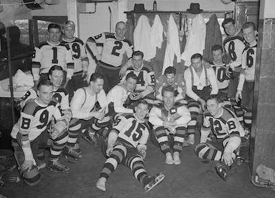 Boston Bruins in the locker room after winning the Stanley Cup, April 16, 1939