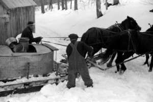Maple sugaring on the Frank H. Shurtleff farm in North Bridgewater, Vt. in April, 1940.