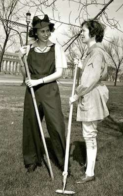 Modeling Woman's Land Army uniforms in World War II. Photo courtesy Library of Congress.