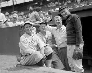 Smoky Joe Wood, Cy Young, Lefty Grove and Walter Johnson at Fenway Park Old-timers game.