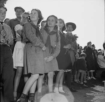 Gloucester, Massachusetts. Memorial Day, 1943. Girl scouts attending the Memorial services