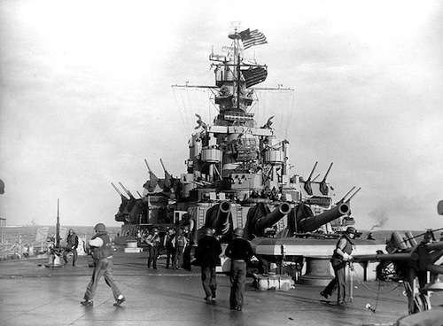 The USS Massachusetts during a lull in the Battle of Casablanca