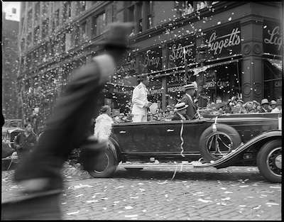 Richard Byrd, Ticker Tape Parade in Boston, 1930. Photo courtesy Boston Public Library, Leslie Jones Collection.